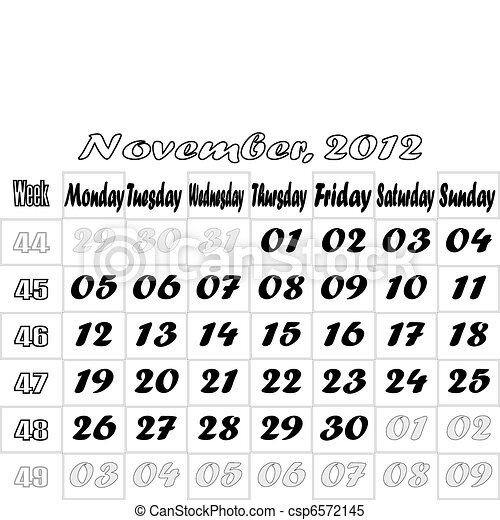 November 2012 monthly calendar v.2 - csp6572145
