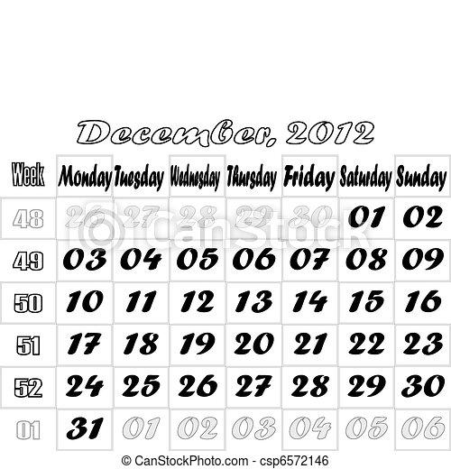 December 2012 monthly calendar v.2 - csp6572146