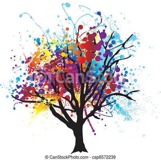 Vecteurs eps de peinture arbre splat moderne r sum for Peinture graphique