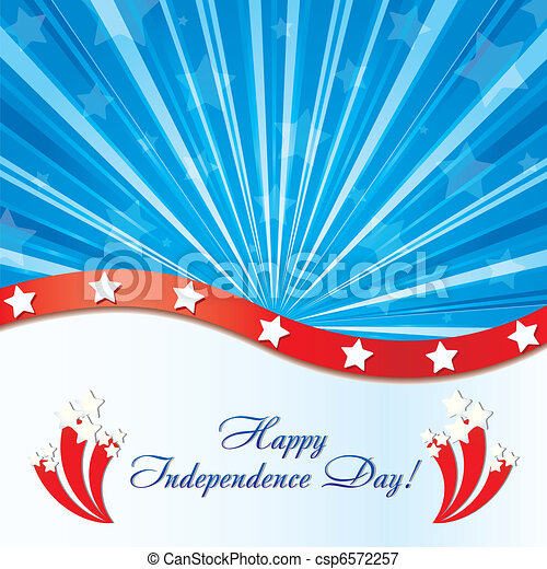 Background with elements of USA flag with congratulations and fireworks, vector illustration  - csp6572257
