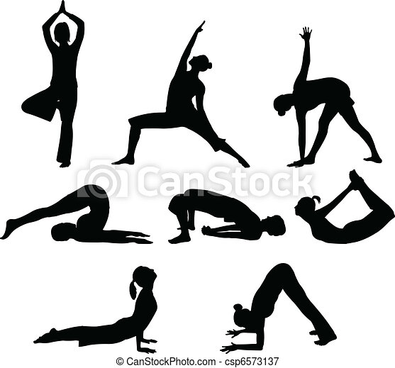vectors illustration of yoga poses  vector illustration
