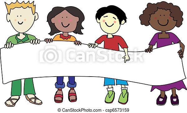 Multi ethnic kids holding banner - csp6573159