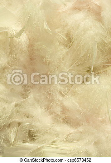 Fluffy cream and light pink feather background  - csp6573452