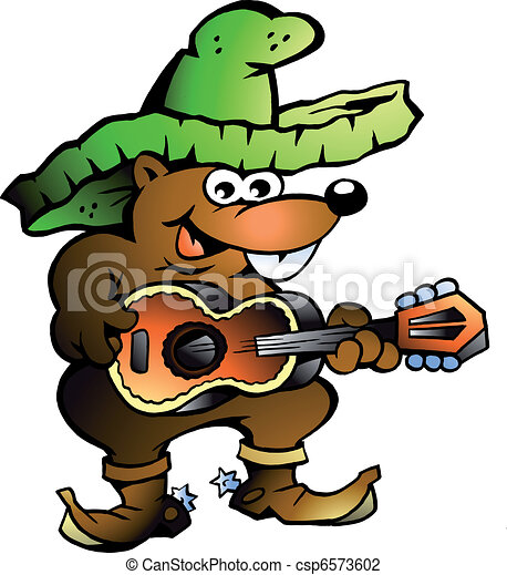 Mexican Wallaby Playing Guitar  - csp6573602