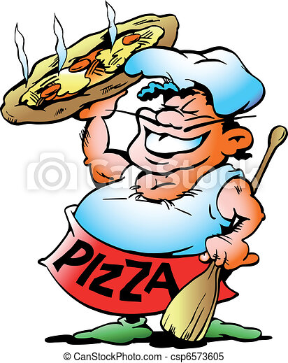 Pizza Baker with a giant pizza  - csp6573605