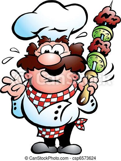 Kebab Chef with a kebab skewer  - csp6573624