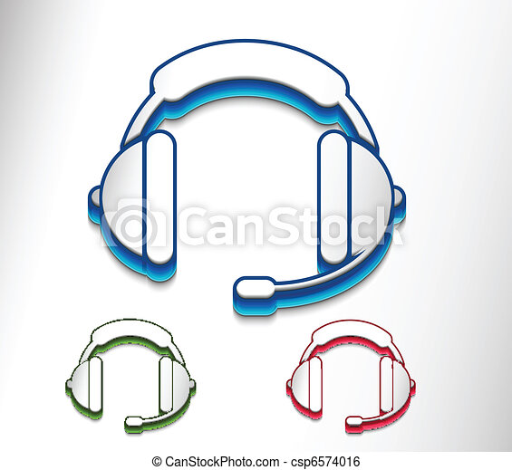 Clip Art Vector of headset web icon - vector glossy headset web ...
