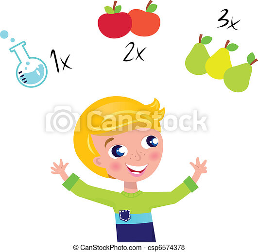 Cute blond boy learning math and counting isolated on white