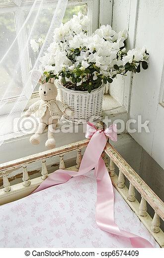 romantic interior of old rural house - csp6574409
