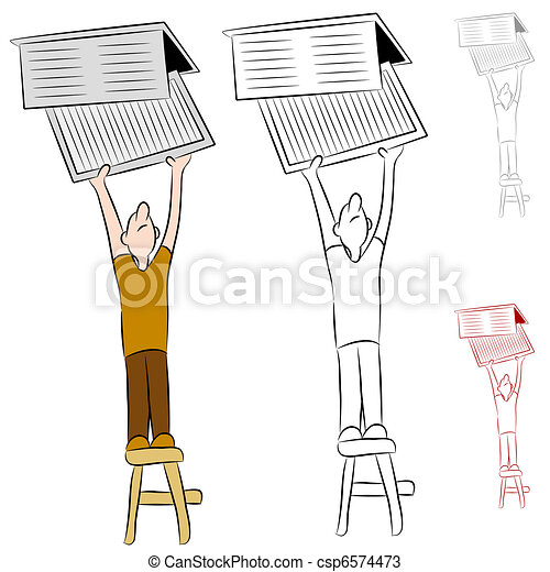 Man Changing Home Heat and Cooling Air Filter - csp6574473