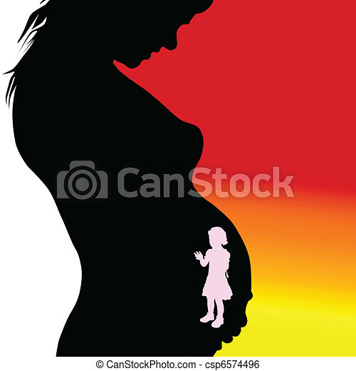 pregnant woman silhouette with girl - csp6574496