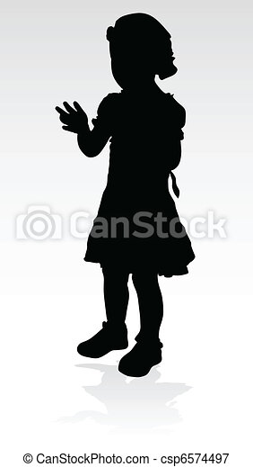 young girl black silhouette - csp6574497