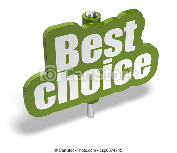 best choice green marker over a white background with shadow - banner is fixer on a metal pin - csp6574745