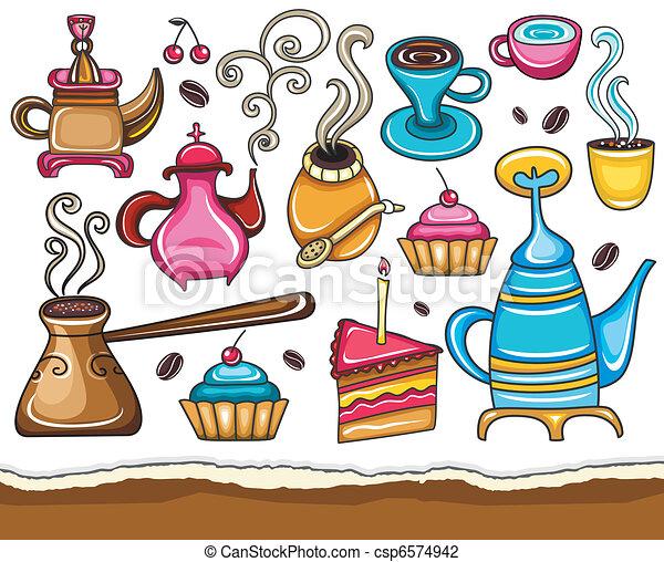 Funny coffee, mate, tea, set  - csp6574942