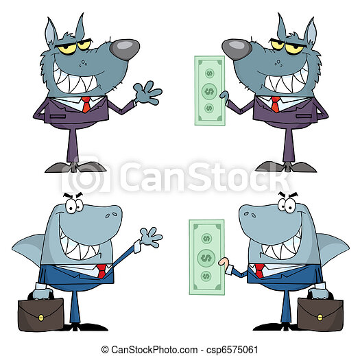 Animals Businessmen Cartoon Charact - csp6575061