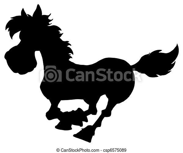 Silhouette Of Horse Running  - csp6575089