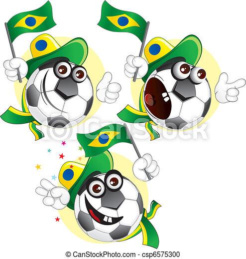 Vector Clipart of Brazilian cartoon ball - Cartoon ...