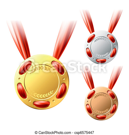 Gold, silver and bronze medals  - csp6575447