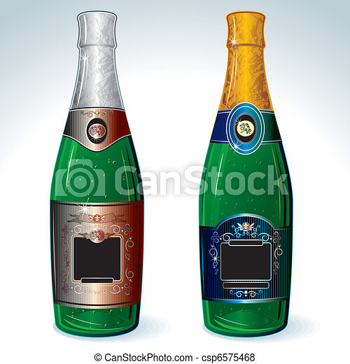 vektor von champagner zwei luxus champagner flaschen leerer csp6575468 suchen sie. Black Bedroom Furniture Sets. Home Design Ideas