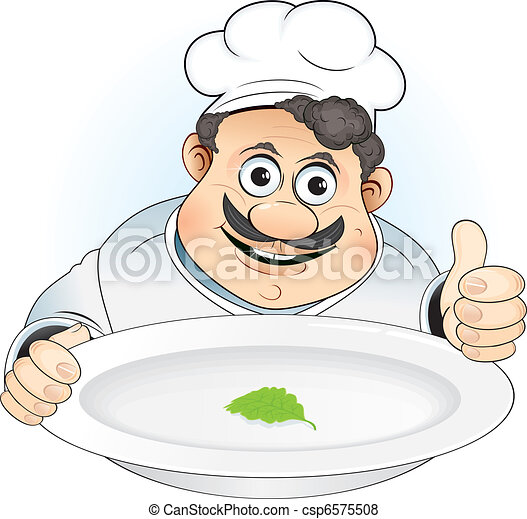Cartoon Fat Chef Fat Chef Chef With New