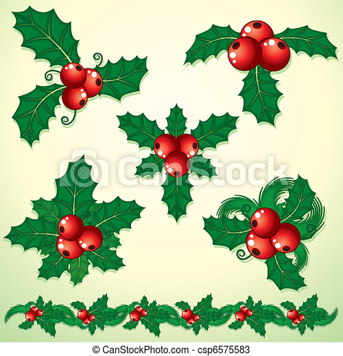 Holly Decoration - csp6575583