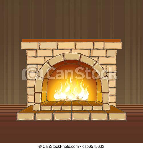 Ilustra o vetorial de lareira pedra lareira chama for Sala de estar 3x5