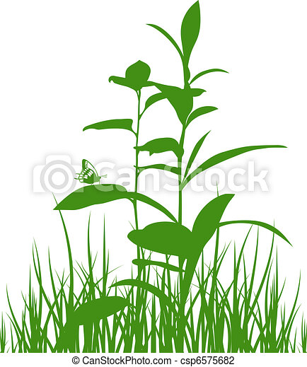 Green meadow herbs silhouettes with - csp6575682