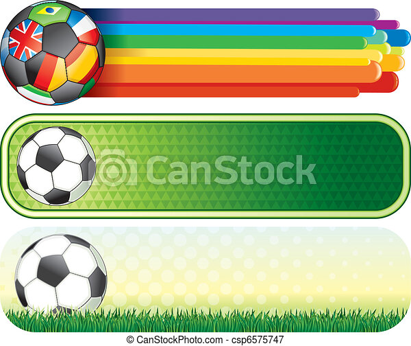 Vectors Illustration of Soccer banners - Soccer colorful banners ...