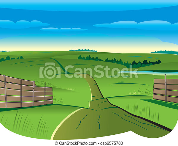 Vector Clipart of Country Road - Vector illustration of ...