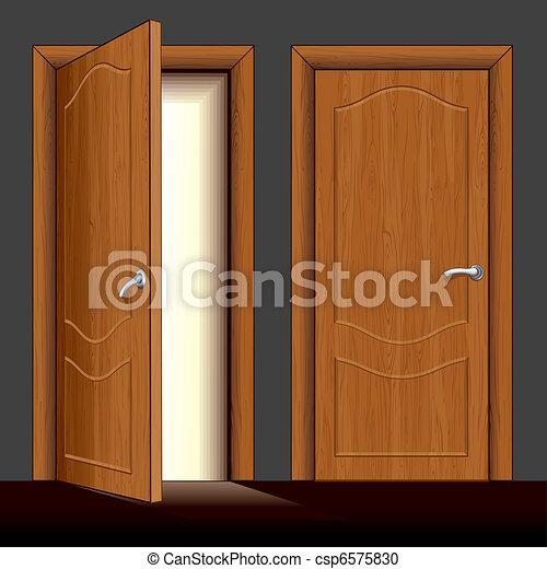 Vector clip art de de madera puerta detallado for Modelos de puertas de frente de madera