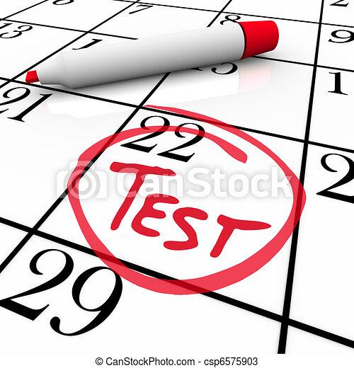 Test Day Circled on Calendar - Nervous for Exam - csp6575903
