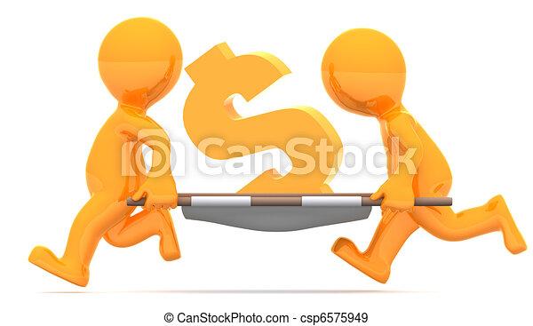 Medics carrying dollar currency sign. Conceptual economic illustration. - csp6575949