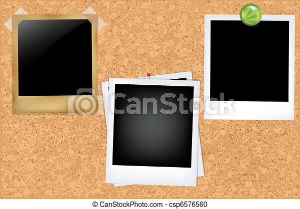 Cork Board With Photos - csp6576560