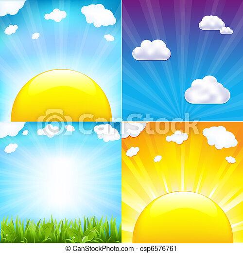 Sun With Beams Set - csp6576761