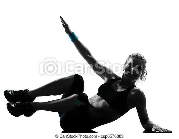 woman workout fitness posture abdominals push ups - csp6576883