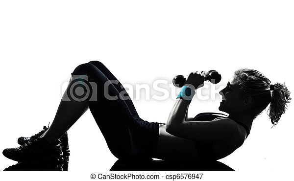 woman workout fitness posture weight training - csp6576947