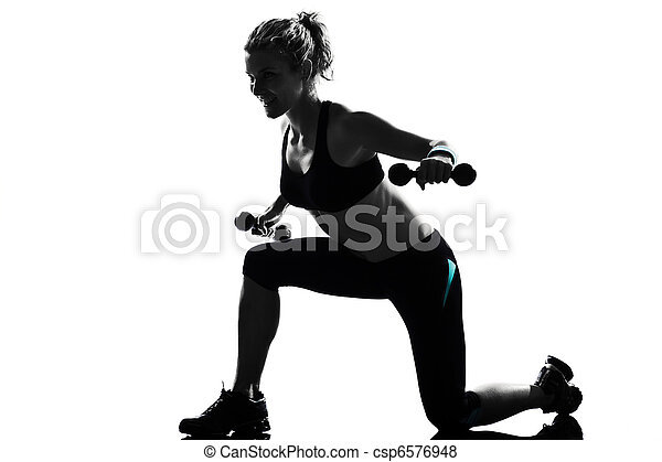 woman workout fitness posture weight training - csp6576948