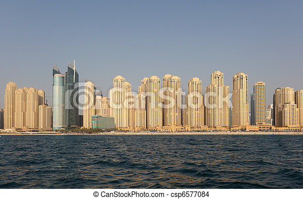 Jumeirah Beach Residence as seen from the sea. Dubai, United Arab Emirates - csp6577084