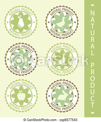 6 labels: natural product, vector illustration - csp6577543