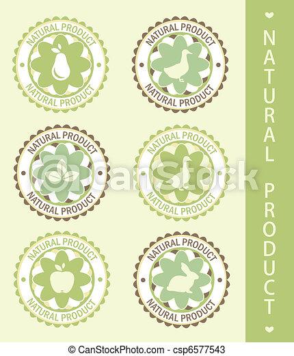 6 labels: natural product, vector illustration - csp6577543