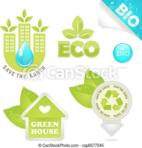 set eco and bio icons - csp6577545