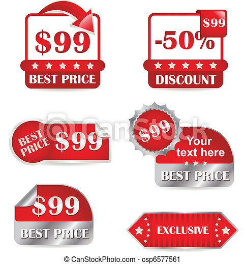 Set of red labels for sale - csp6577561