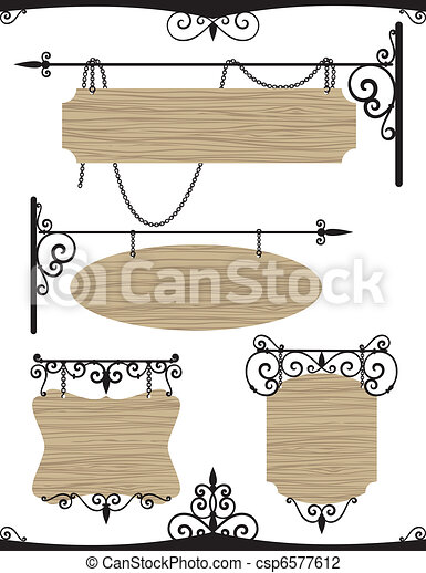 Wooden wrought iron vintage signs set  - csp6577612