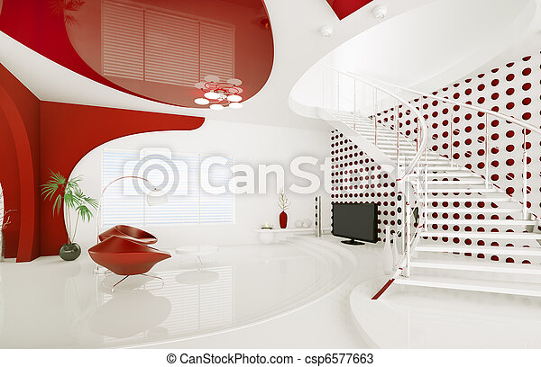 Modern interior design of living room 3d render - csp6577663