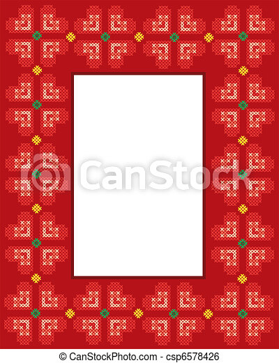 Valentine Cross stitch hearts frame - csp6578426