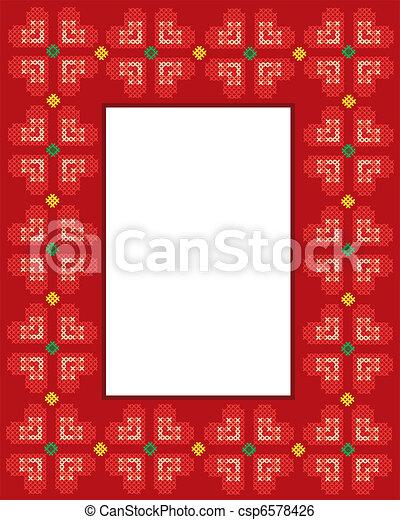 Valentine Cross stitch hearts frame - csp6578426