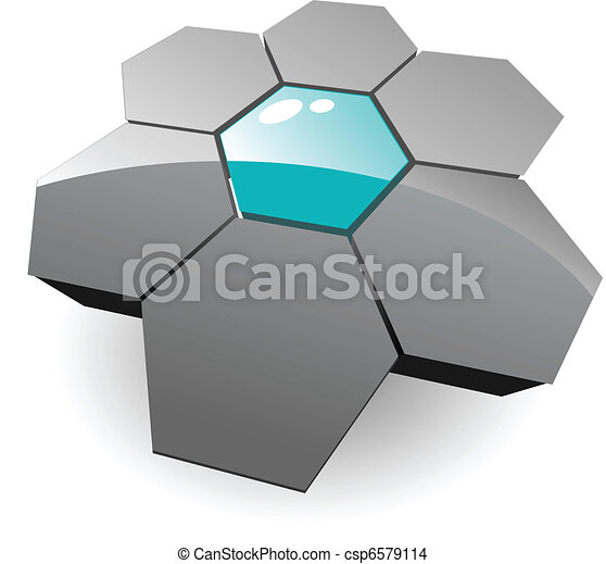 Logo 3d hexagons - csp6579114