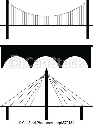 bridge silhouette vector - csp6579181