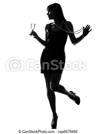 stylish silhouette woman partying drinking champagne - csp6579494