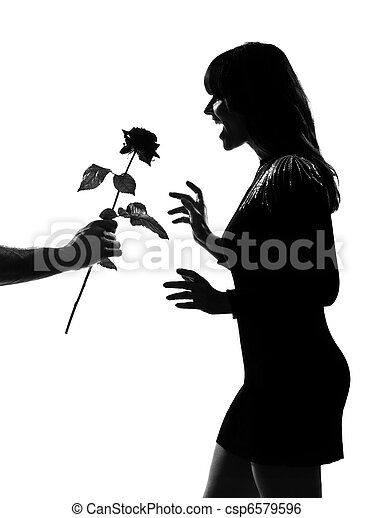 stylish silhouette man hand offering a flower rose - csp6579596